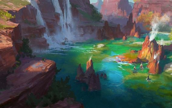 Wallpaper Art drawing, bathing, spa, river, rocks, trees, waterfall