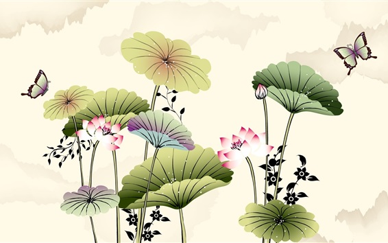 Wallpaper Art drawing, lotus, butterfly, Chinese style