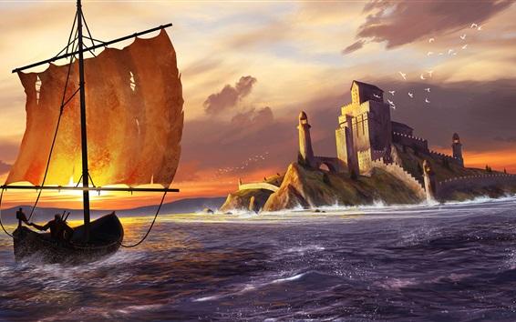 Wallpaper Art drawing, sea, sailboat, castle, birds, sunset