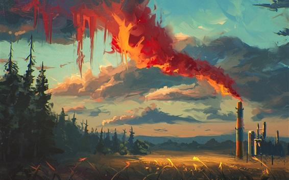 Wallpaper Art drawing, smoke, pipe, trees, grass, clouds