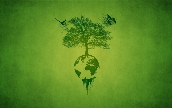 Papéis de Parede Desenho de arte, árvore, terra, verde