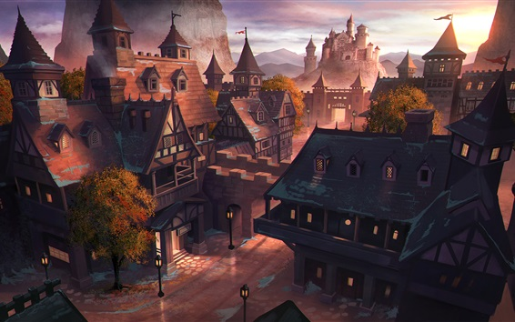 Wallpaper Art painting, Middle Ages, ancient city