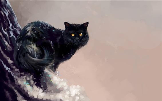 Papéis de Parede Pintura de arte, gato preto, inverno, árvore