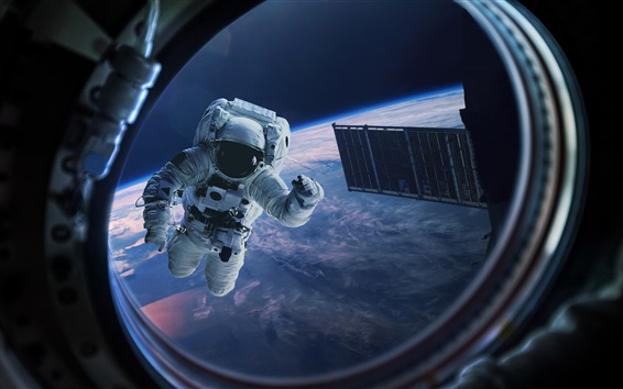 Wallpaper Astronaut, Earth, window, gravity, space