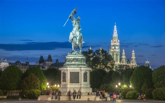 Fondos de pantalla Austria, Hofburg, Viena, monumento, personas, noche