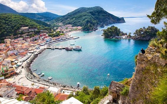 Hintergrundbilder Bucht, Yachten, Boote, Meer, Pier, Stadt, Griechenland