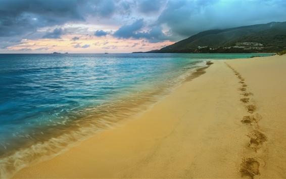 Papéis de Parede Praia, areia, traços, mar, costa, crepúsculo, nuvens