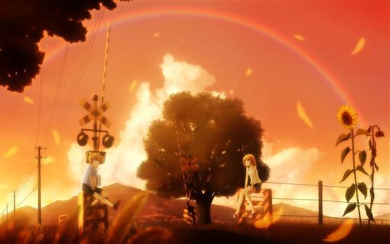 Fond d'écran Belle scène d'anime, fille et garçon, arbres, arc-en-ciel, chemin de fer, chaud