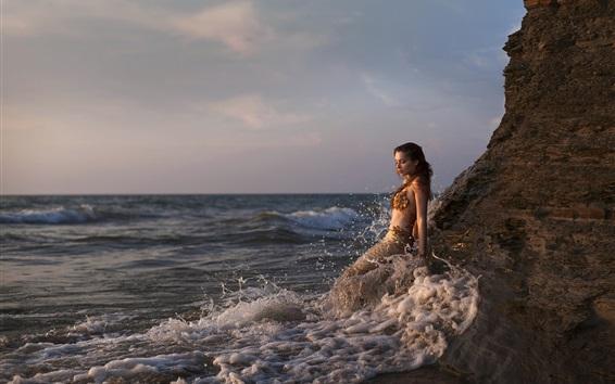 壁紙 美しい人魚、海、波