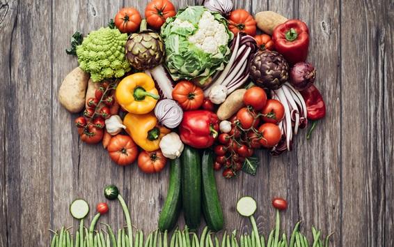 Fond d'écran Beau arbre, légumes, image créative
