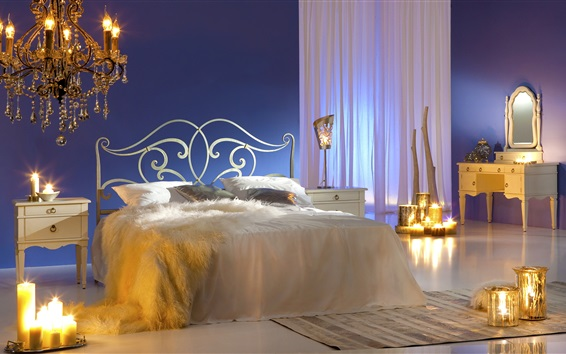 Fond d'écran Chambre, lit, oreiller, bougies, miroir