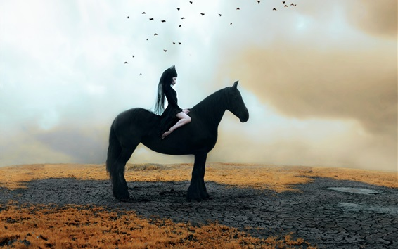 Wallpaper Black dress girl, black horse, birds, Kindra Nikole