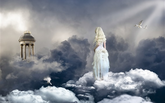 Fond d'écran Fille blonde, ange, ciel, nuages, oiseaux, paradis