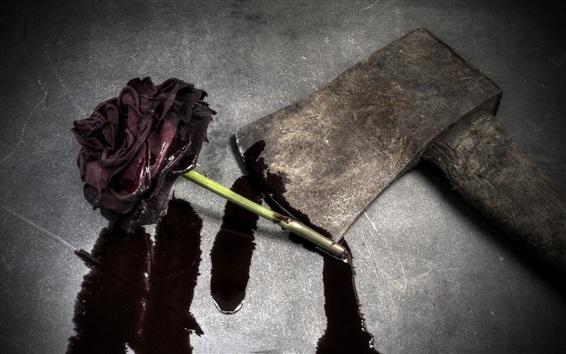 Wallpaper Blood rose, axe