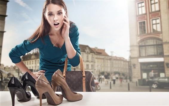 Wallpaper Blue dress girl, surprise, store, shoes