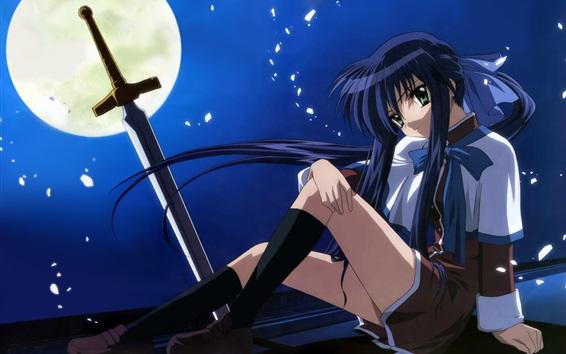 Wallpaper Blue hair anime girl, night, moon, sword