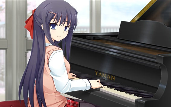 Fond d'écran Blue hair anime girl play piano