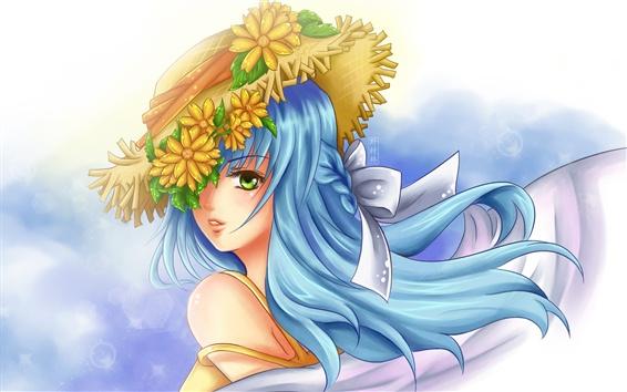 배경 화면 파란 머리 애니메이션 소녀, 머리에 화환