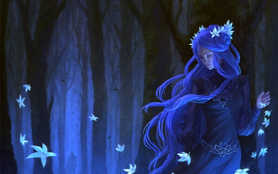 Wallpaper Blue hair fantasy girl, flowers, forest