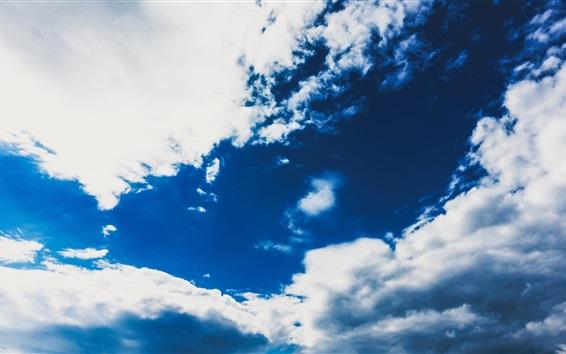 Fond d'écran Ciel bleu, nuages blancs, nature