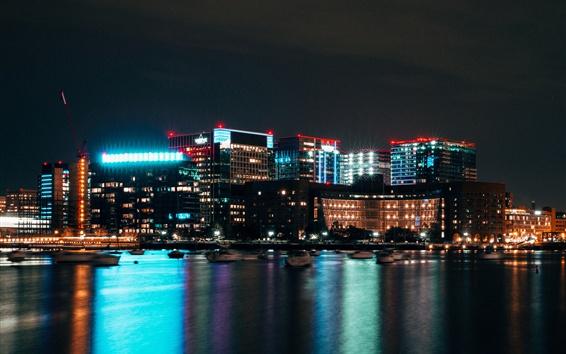 Wallpaper Boston, USA, night, city, skyscrapers, lights, river