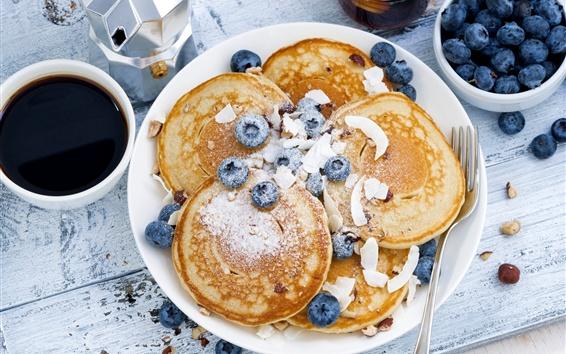 Fondos de pantalla Desayuno, arándanos, panqueques, café