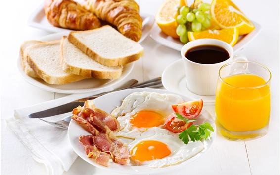 桌布 早餐,咖啡,炒雞蛋,麵包,橙子