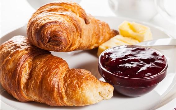Обои Завтрак, круассан, джем
