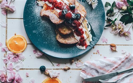 Fond d'écran Petit déjeuner, sandwichs, confiture, dessert, fleurs