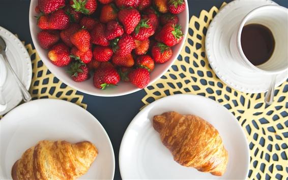 Обои Завтрак, клубника, хлеб, чай