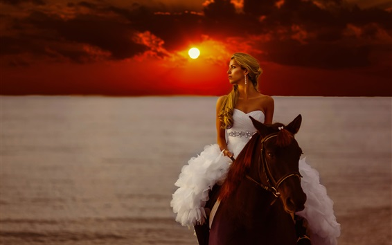 Wallpaper Bride riding horse, sunset, sea
