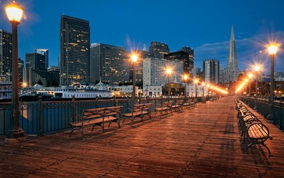 Papéis de Parede Ponte, luzes, bancada, cidade, arranha-céus, noite