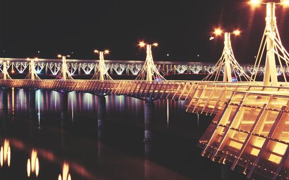Fond d'écran Pont, jetée, rivière, lumières, nuit