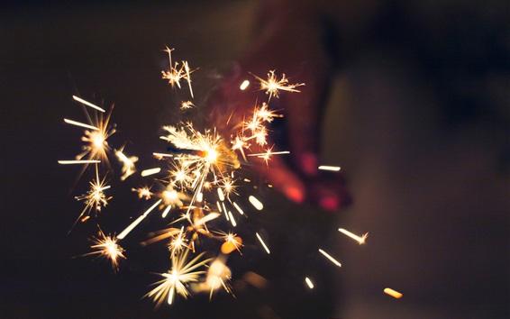 Wallpaper Bright sparks, night, holiday