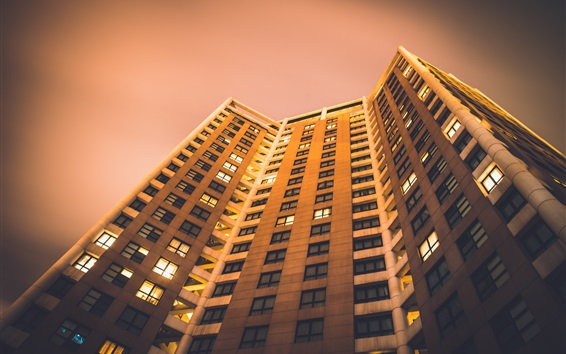 Fond d'écran Bâtiments, maisons, vue de bas, nuit
