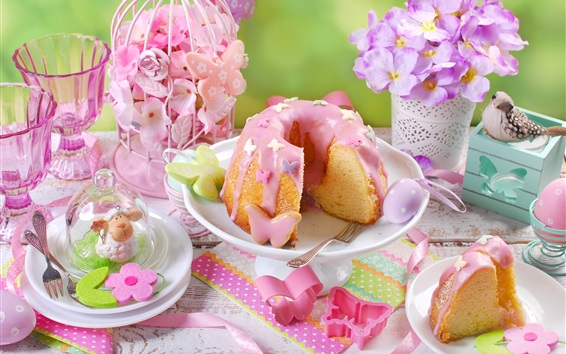 Wallpaper Cake, cream, flowers, romantic