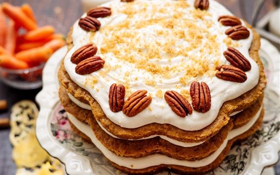 Обои Торт, сливки, орехи, десерт