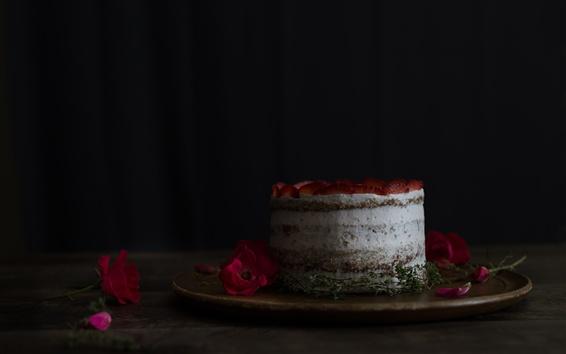 Wallpaper Cake, strawberry, rose, petals