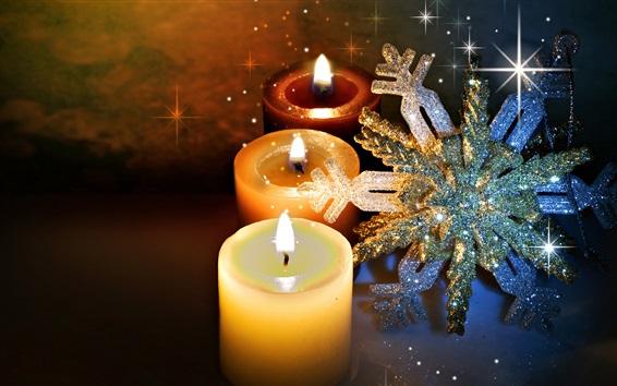 Fond d'écran Bougies, flamme, feu, flocon de neige, brillance, thème de Noël