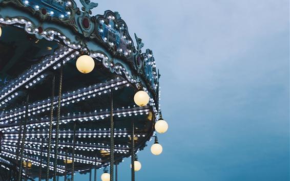 Fond d'écran Carrousel, éclairage, nuit