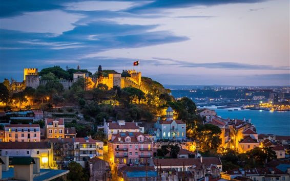 Fond d'écran Château, littoral, éclairage, ville, nuit, forteresse, Portugal