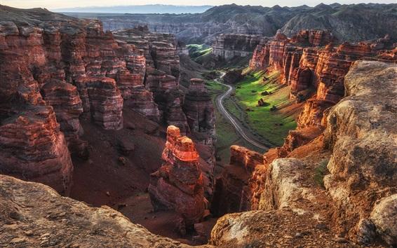 Wallpaper Charyn Canyon, Kazakhstan, morning, road, beautiful landscape