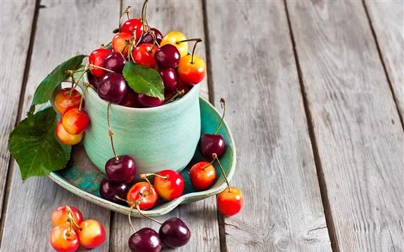 Papéis de Parede Cereja, fruta, copo, placa de madeira