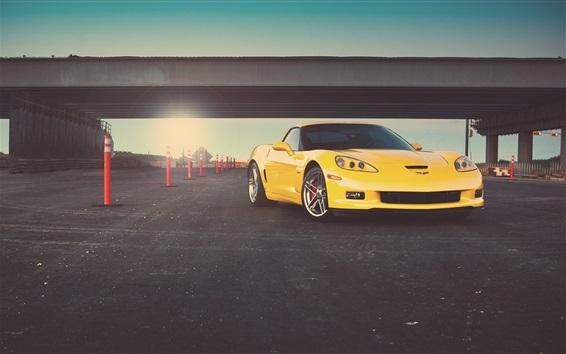 Fond d'écran Chevrolet Corvette Z06 vue avant de la voiture jaune