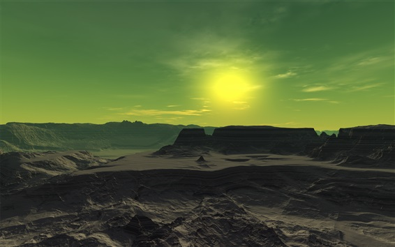 Fond d'écran Jour froid, paysage naturel, roches, montagnes, soleil