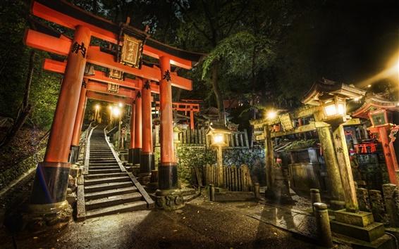 Wallpaper China, stairs, gate, night, lights