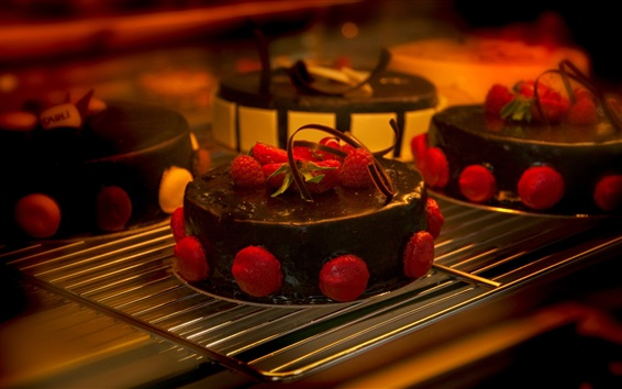 Wallpaper Chocolate cake, strawberry