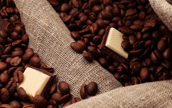 Wallpaper Chocolate, coffee beans