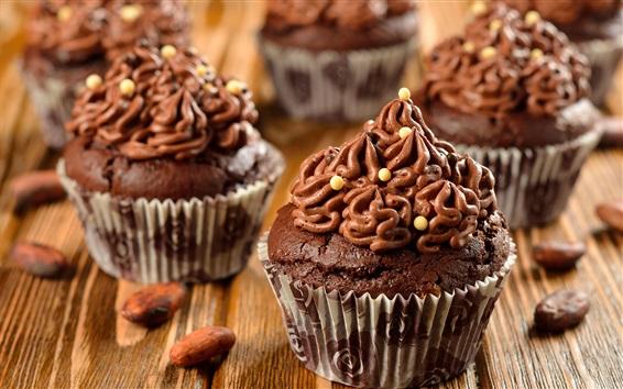 Wallpaper Chocolate cupcakes, cake, cream