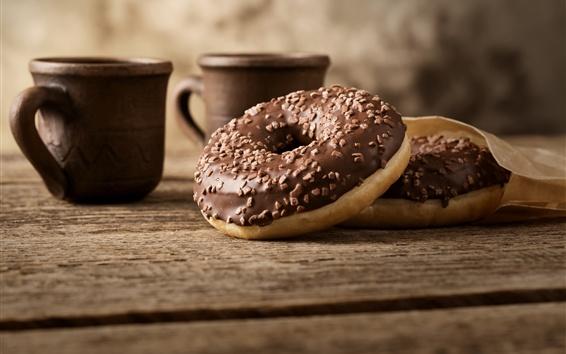Fondos de pantalla Donuts de chocolate, tazas